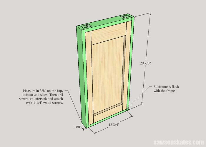 Attaching the frame to the subframe of the DIY litter box enclosure