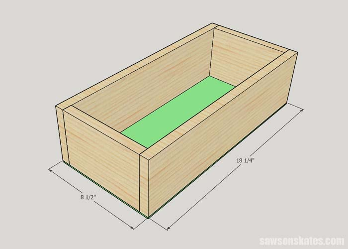 Adding the bottom to the DIY litter box cabinet