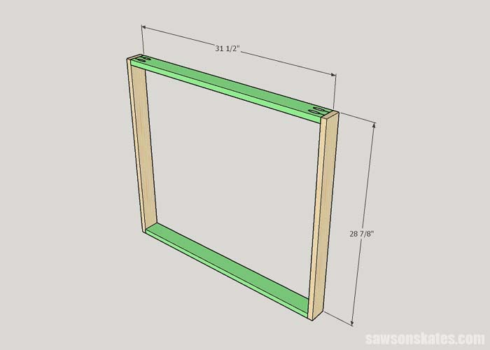 Dimensions of the DIY litter box cabinet face frame