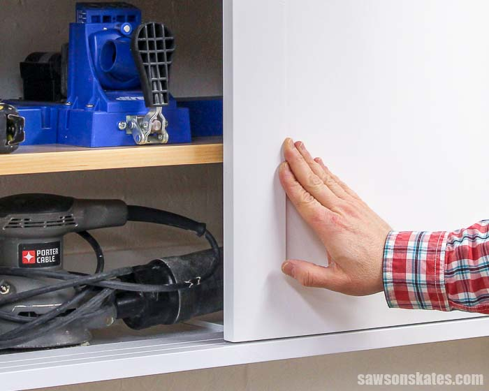 Closing a sliding door of some DIY storage cabinets