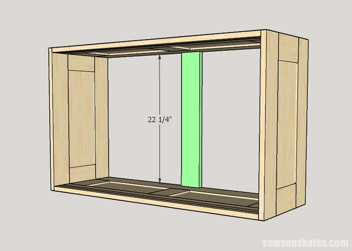 Sketch showing the vertical back brace for the DIY workshop cabinet