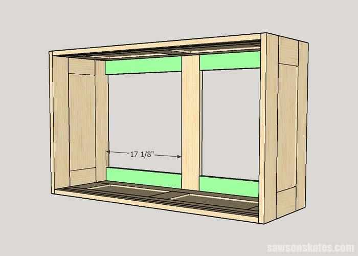 Sketch showing the horizontal back braces for the DIY workshop cabinet