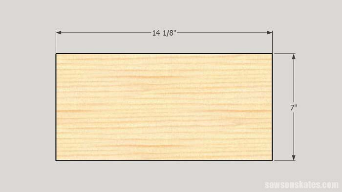 Sketch showing the top and bottom panel dimensions needed to make DIY storage cabinets
