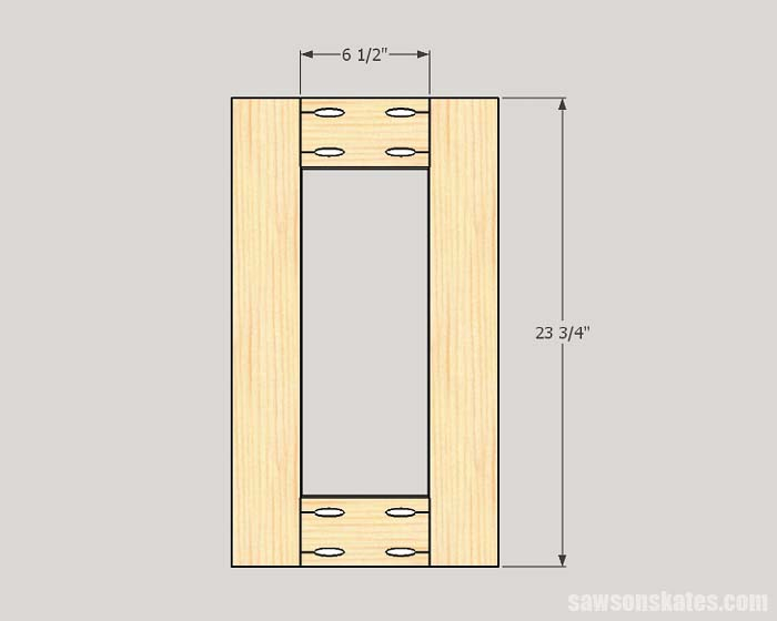 Sketch showing the dimensions of the side frames for the workshop storage cabinet