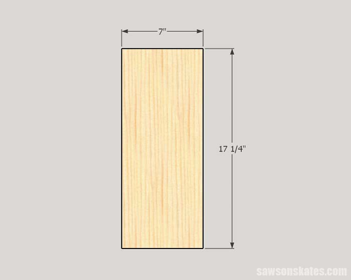 Sketch showing the side panel dimensions of the workshop storage cabinet