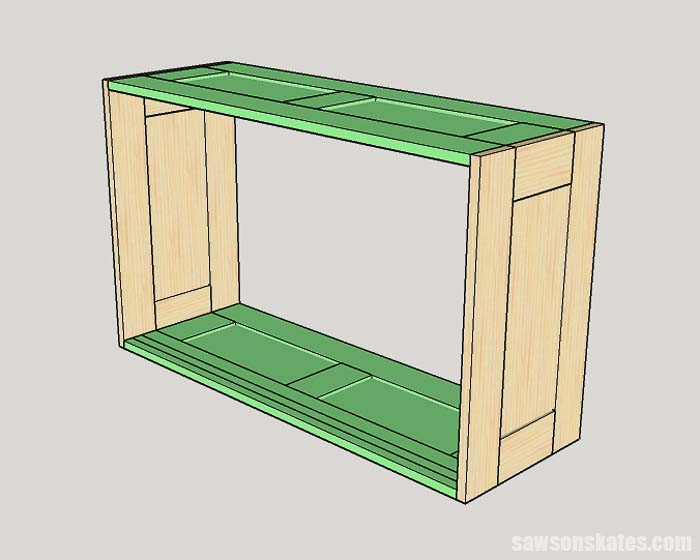 Sketch showing how to attach the top and bottom of the DIY tool storage cabinets to the sides
