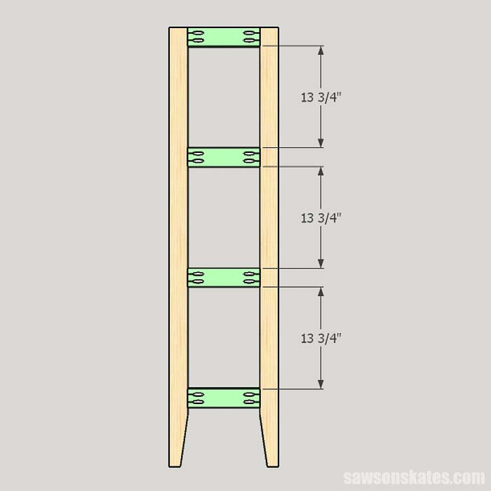 Sketch showing the side rail locations for the outdoor plant stand