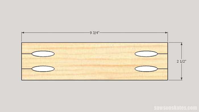Sketch showing the rail dimensions for the outdoor plant stand