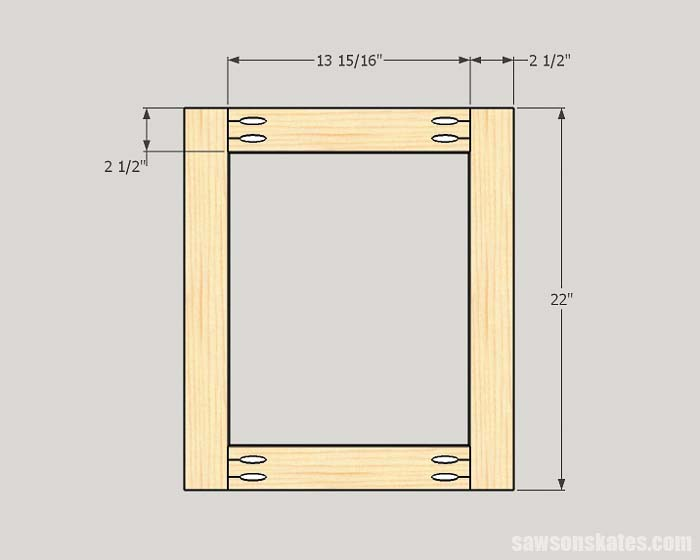 Sketch showing the dimensions of the rails and stiles needed to make DIY Shaker cabinet doors