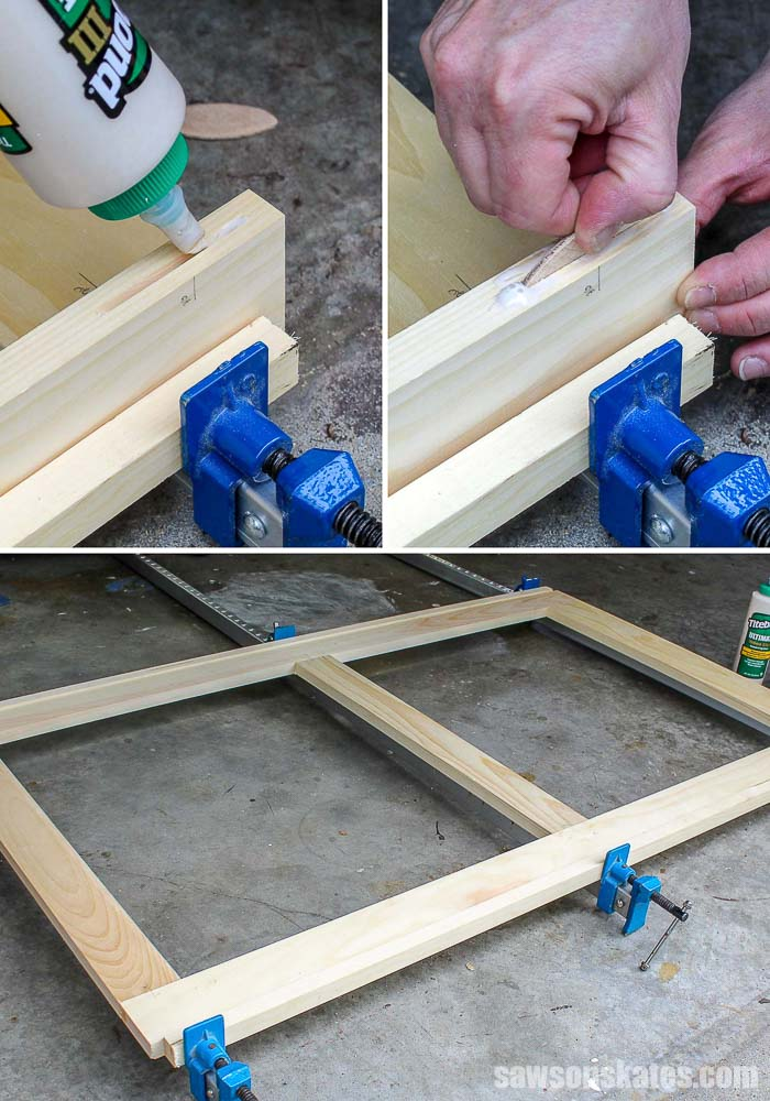 Assembling a wood window screen frame with glue and biscuits