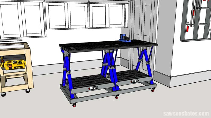 This space-saving woodshop layout uses a folding worktable for assembling projects