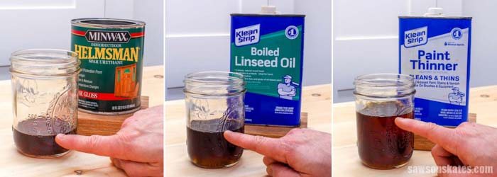 A can of Spar Varnish, Boiled Linseed Oil and Paint Thinner