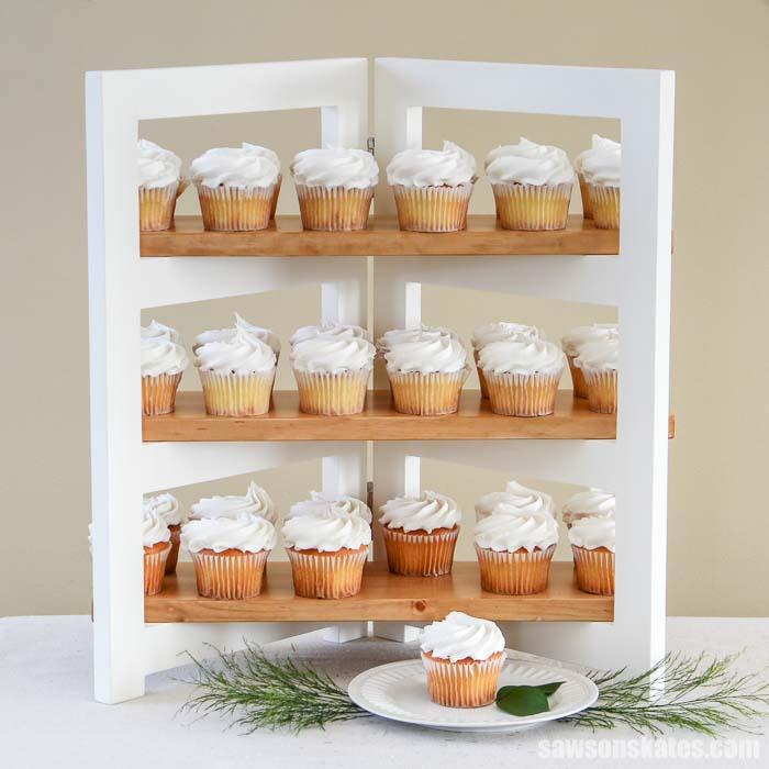 3-tier DIY cupcake stand displaying 36 cupcakes