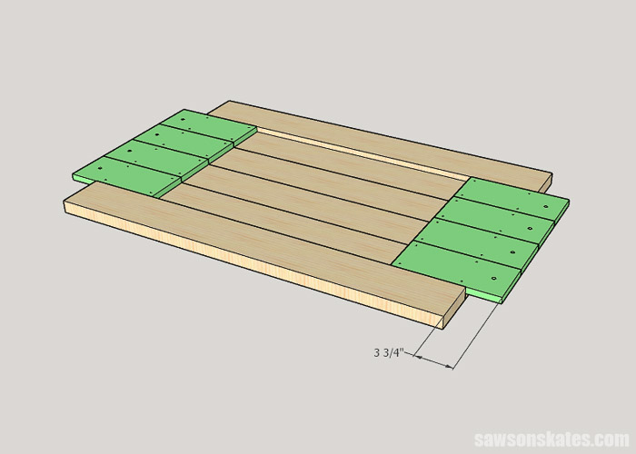 Sketch showing how to attach a tongue to a DIY farmhouse table top