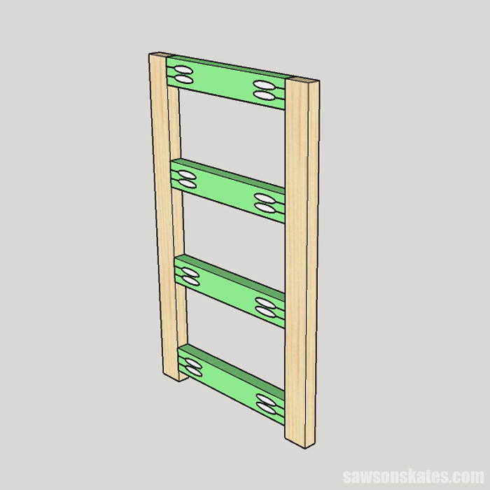 Sketch showing how to assemble the folding frame for a DIY cupcake stand