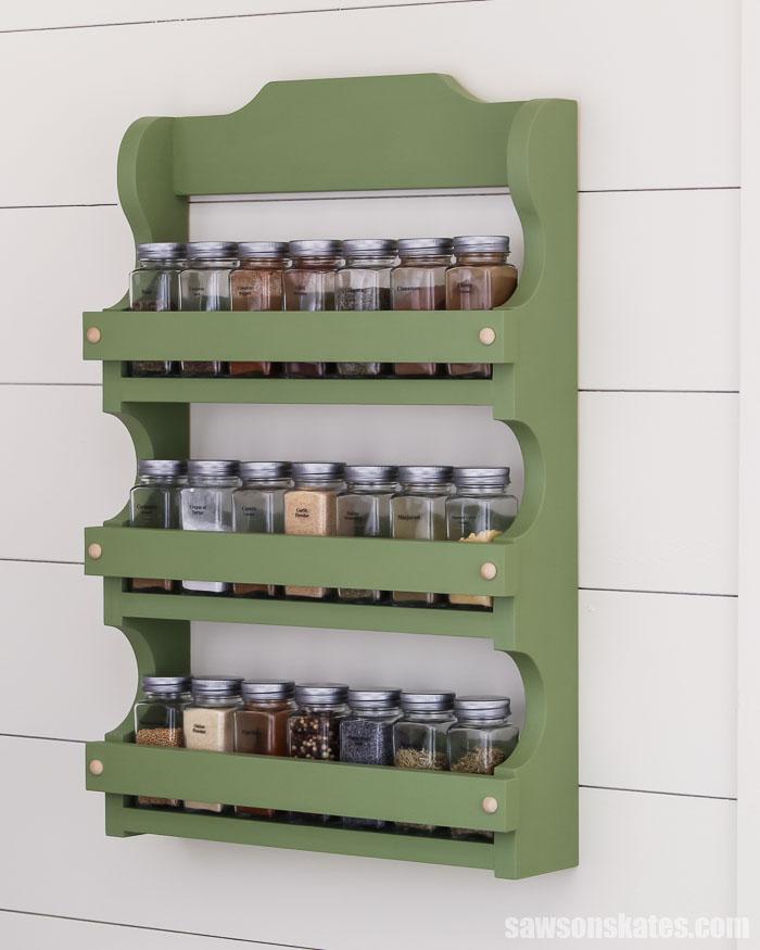 diy wood spice shelf wall mounted