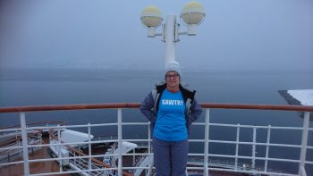 Sue winter cruising in Norway