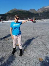 Sue in Mendenhall Glacier in Alaska
