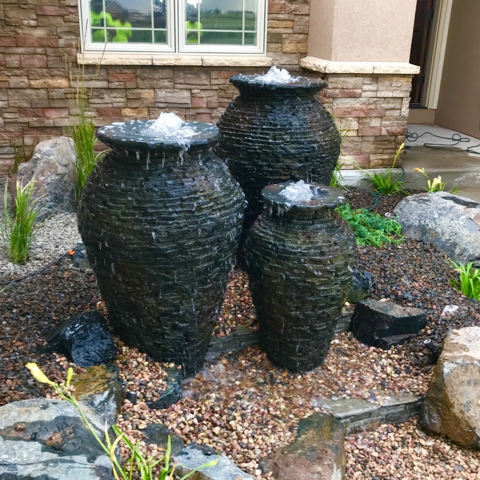 Stacked Slate Urns Pondless Waterfall