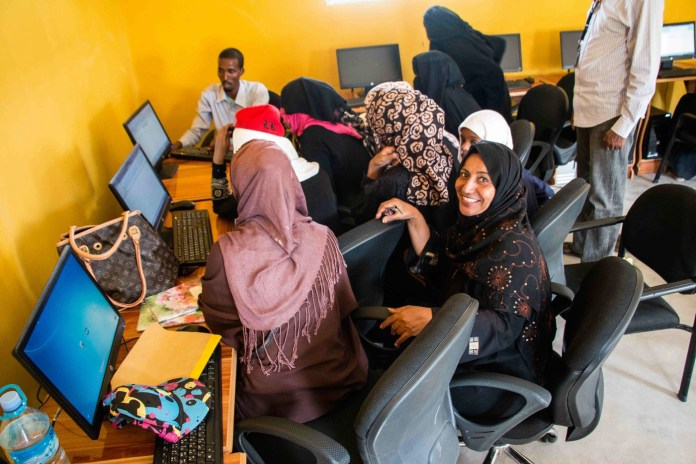 Yemeni and Somali women come together at a local community center in Hargeisa to equip themselves with skills that will lead to employment. Many are now fending for themselves in a country that is foreign to them. (Ashley Hamer)