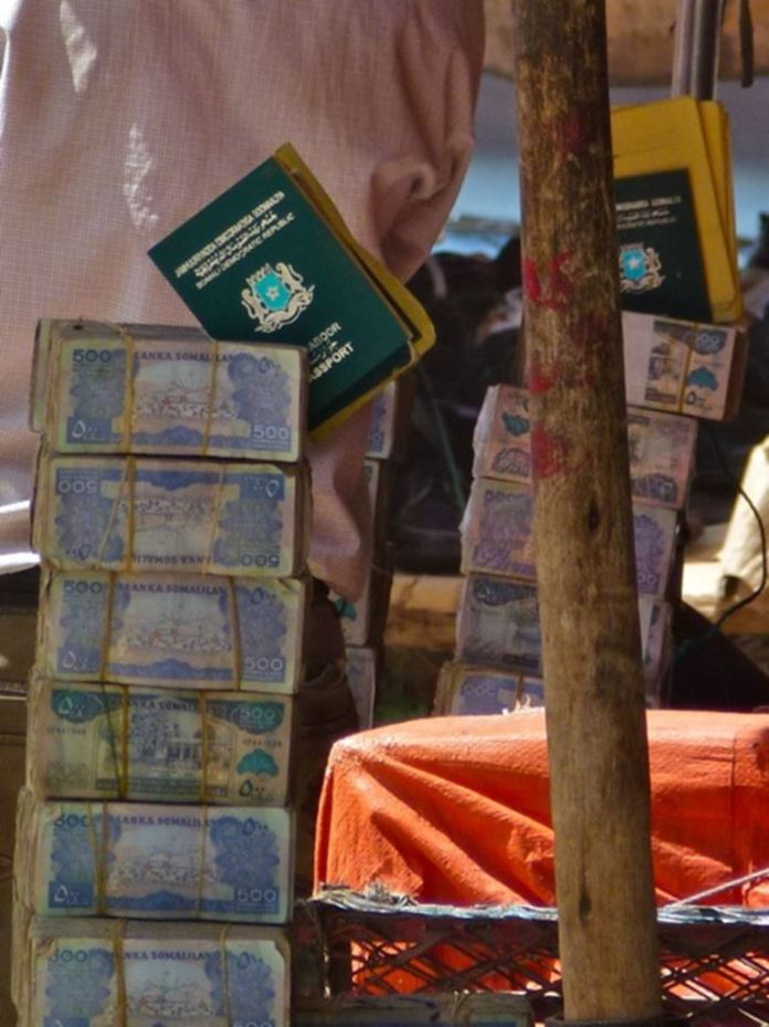 Somali passports for sale on the streets of Hargeisa.