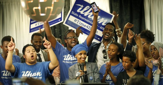 Ilhan Omar spoke to supporters at Kalsan in Minneapolis.