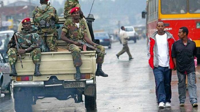 File photo: members of the Ethiopian army patrol the streets of Addis Ababa, Ethiopia (AAP)