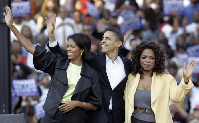 Michelle And Barack Obama Campaign With Oprah | Saxafi