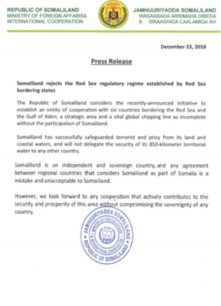 Somaliland Rejects The Red Sea Regulatory Regime Established By Saudi Arabia