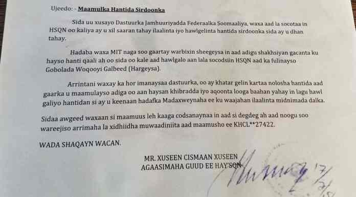 Sirdoonka Somalia Oo Raysal-Wasaare Ku Xigeenka Dalkaas Ka Dalbaday Inuu Ku Soo Wareejiyo Basaasiin Uu Iskii Uga Hawlgeliyay Somaliland