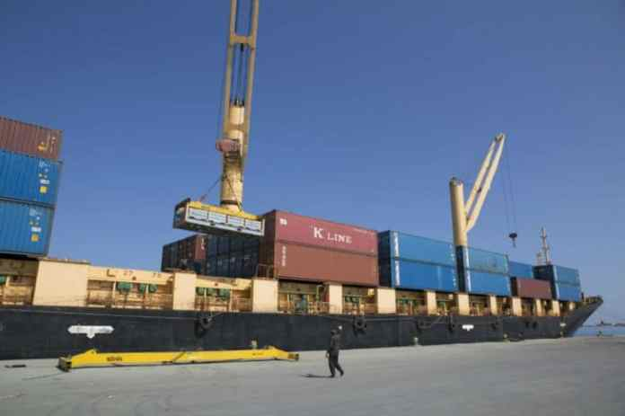 A cargo ship is seen in Berbera port in Somaliland on December 5, 2015