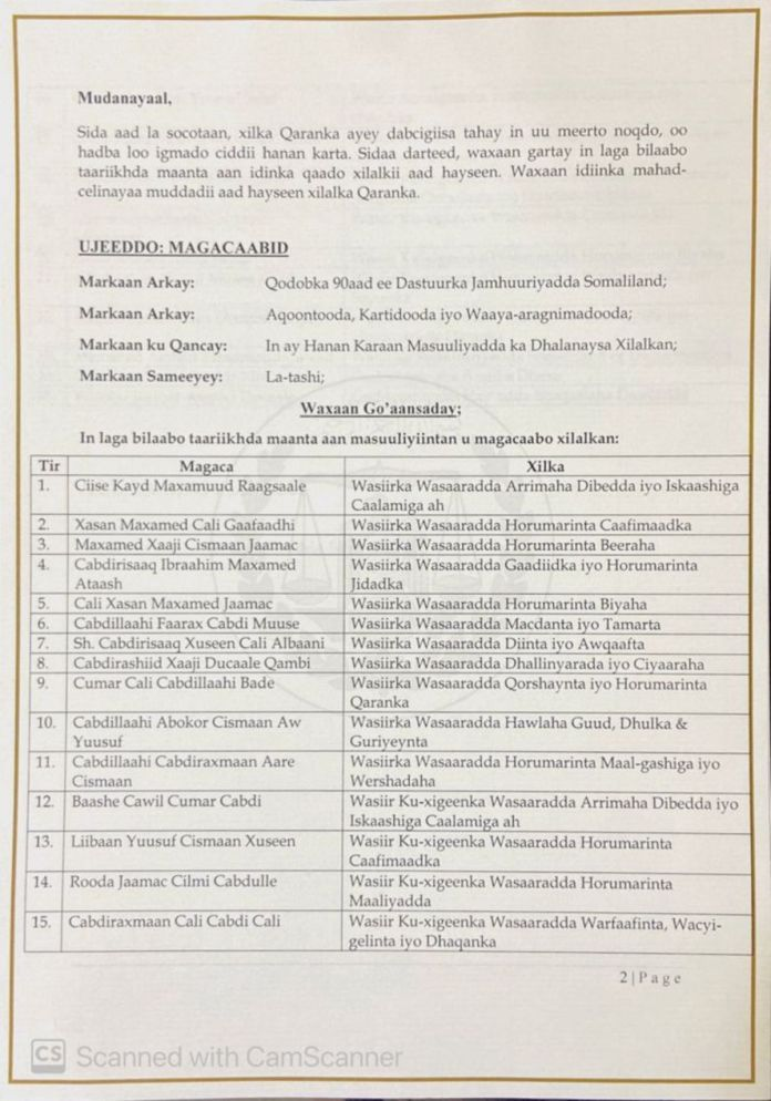 Somaliland President Announces His Biggest Cabinet Reshuffle