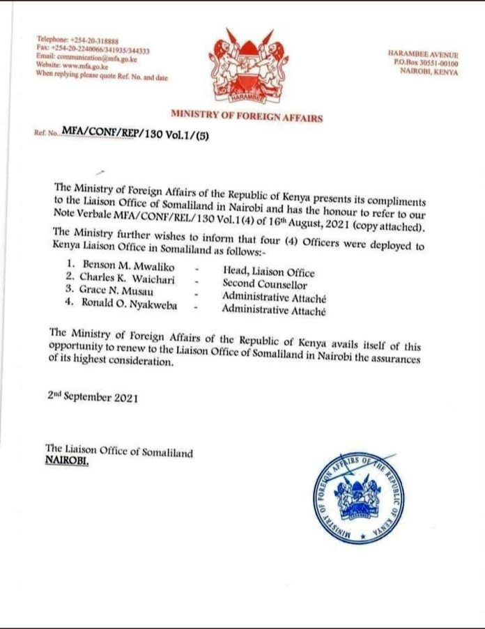 Kenya Appoints 4 Officers To Its Liaison Office In Somaliland