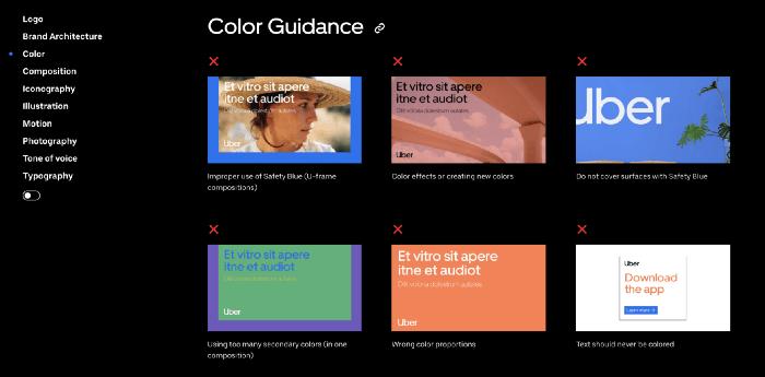 Guía de colores en imágenes de Uber Brand