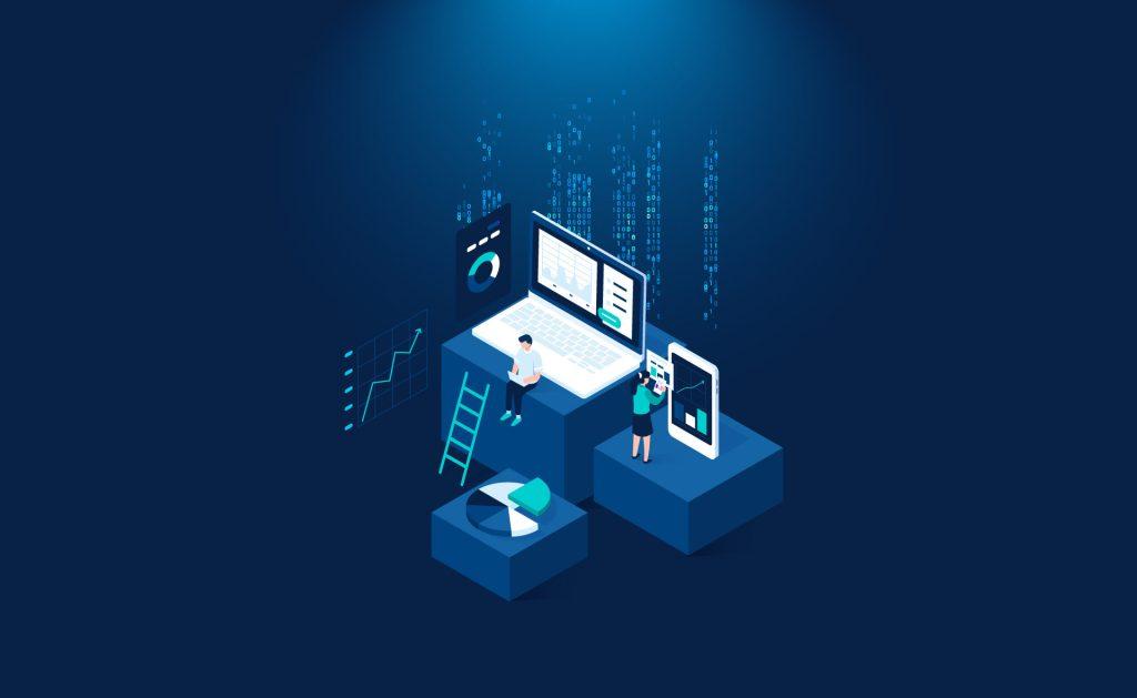 Ilustración de dos personajes en una computadora y un celular. Innovación tecnológica.