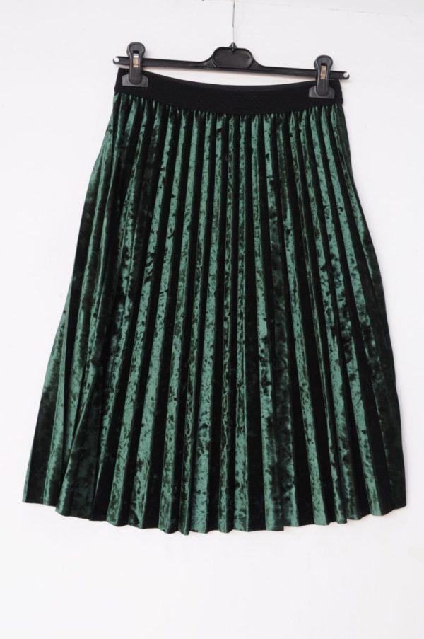 Fusta plisata catifea midi verde