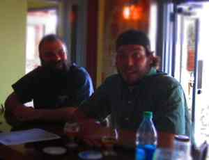 Kevin and Brewer Ben Woodward in the Haw River Farmhouse Ales tasting room