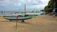Balinese fisherman's boats, parked at Sanur beach.