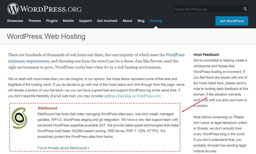 WordPress recommend Hosting Siteground