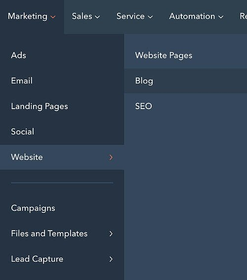 Buttons for blog and website pages on the HubSpot CMS