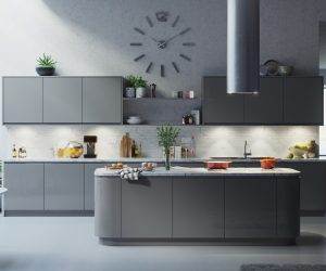 Handle less kitchen grey