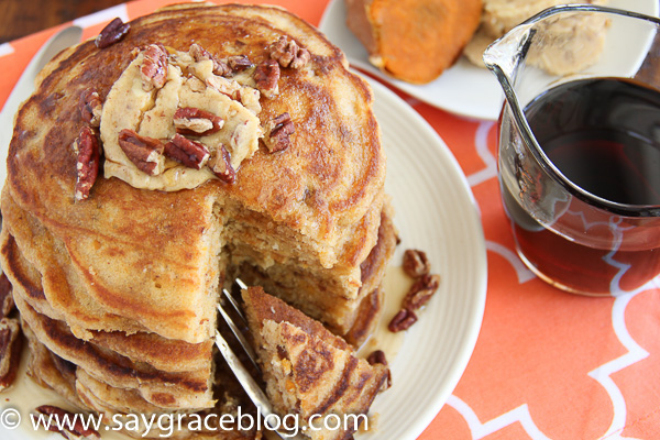 Sweet Potato Pecan Pancakes with Praline Butter