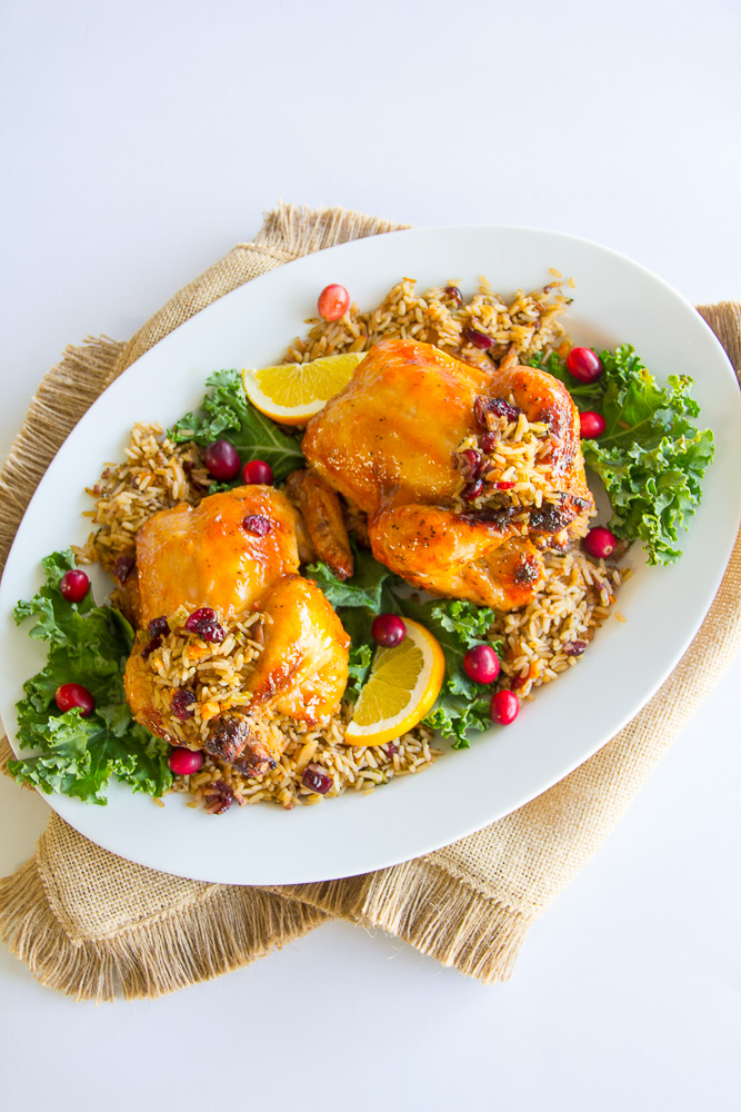 Apricot-Glazed Cornish Hens stuffed with a Rice Pilaf