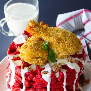 Oven Fried Chicken & Red Velvet Waffles