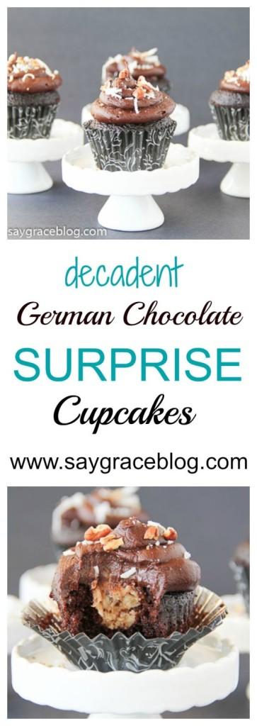 German Chocolate Surprise Cupcakes