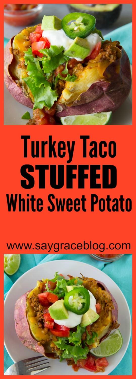 Turkey Taco Stuffed White Sweet Potato