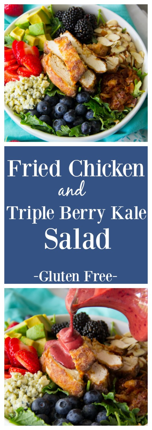 Fried Chicken & Triple Berry Kale Salad