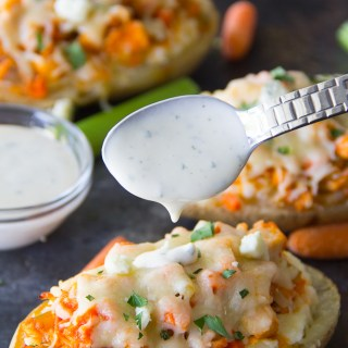 Twice Baked Buffalo Chicken Potatoes