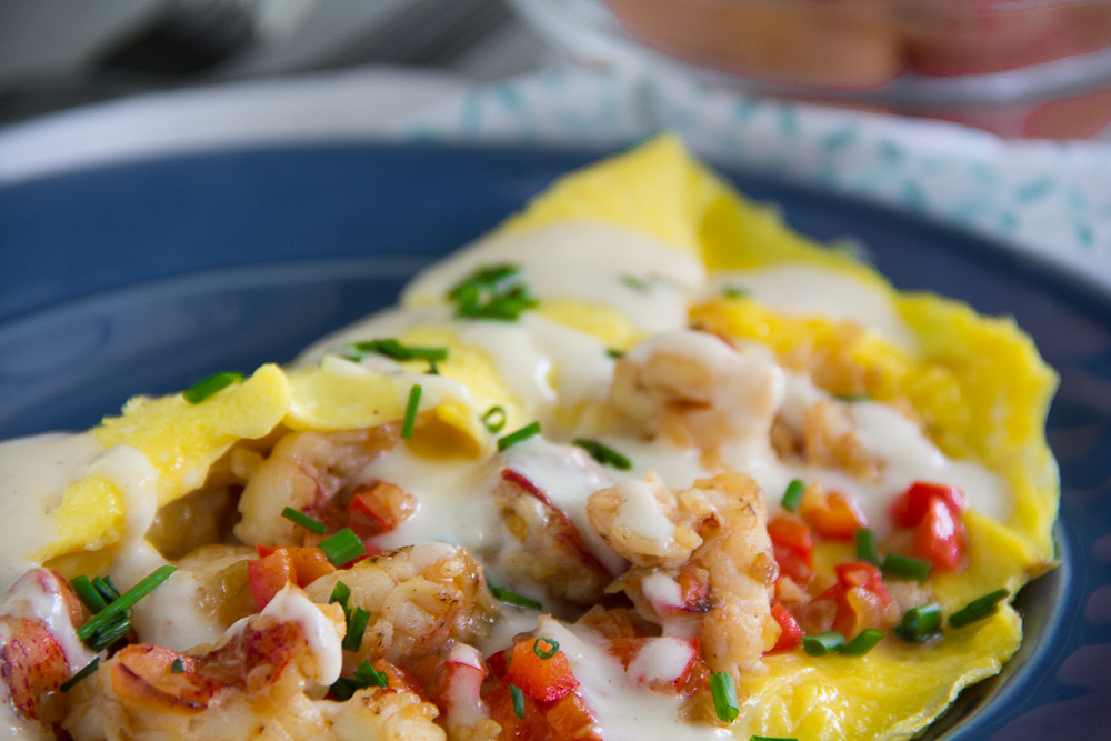 Lobster Omelette with a Mornay Sauce