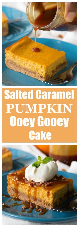 Salted Caramel Pumpkin Ooey Gooey Cake | Say Grace